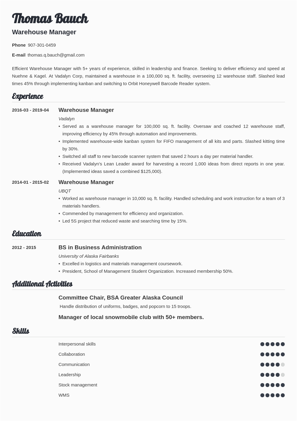 warehouse manager resume example