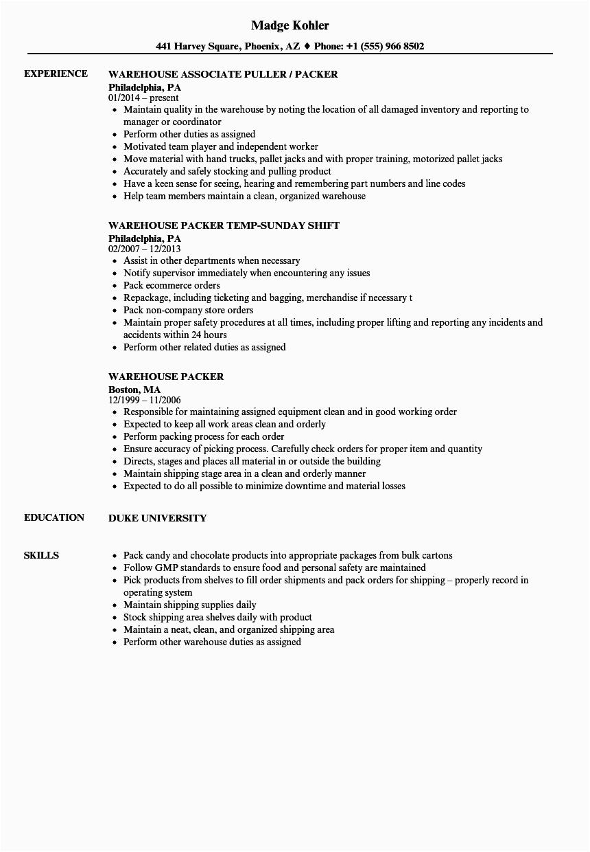 warehouse packer resume sample