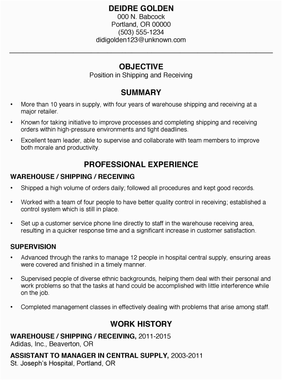 resume sample shipping and receiving