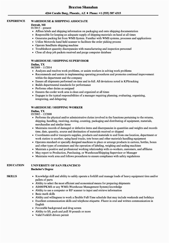warehouse shipping resume sample