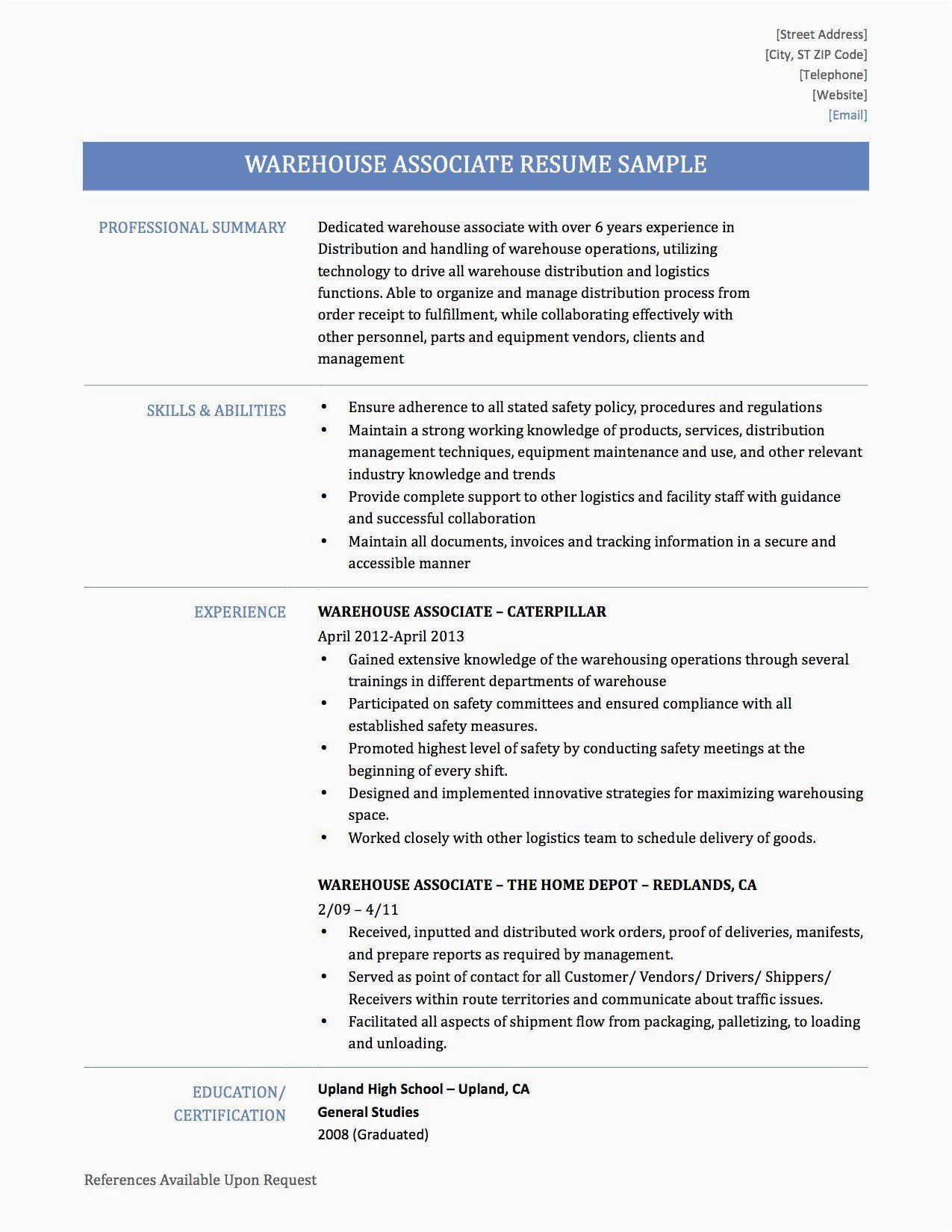 Sample Resume for Warehouse Supervisor Position Warehouse Supervisor Resume Sample Best Resume Examples