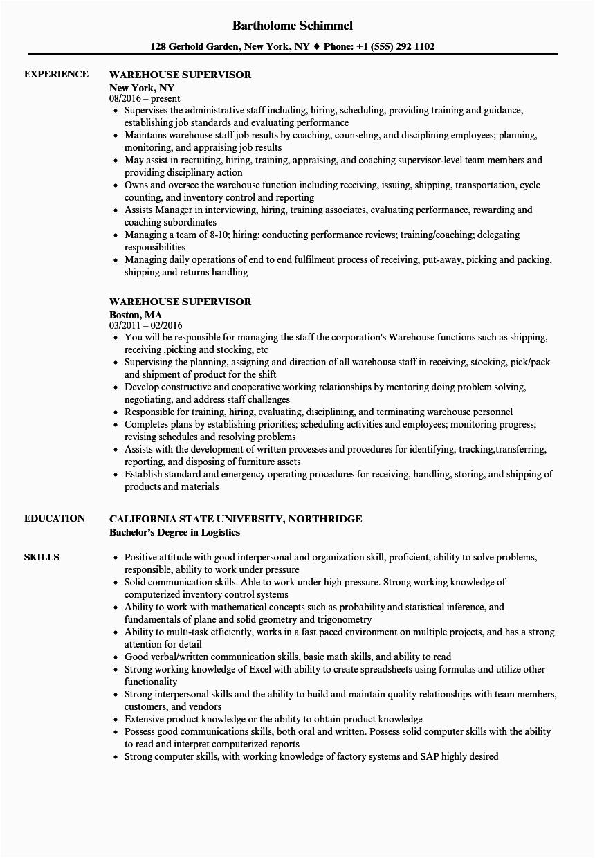 warehouse supervisor resume sample