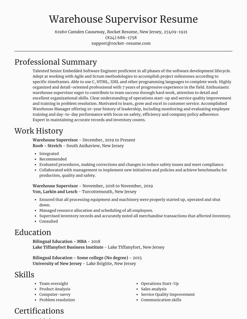 warehouse supervisor profession resumes templates and ideas