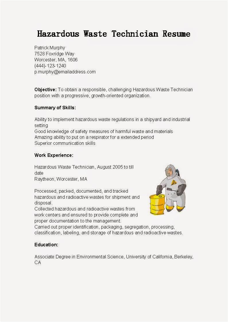 hazardous waste technician resume sample