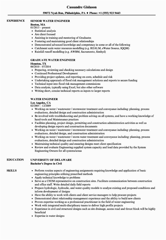 water engineer resume sample