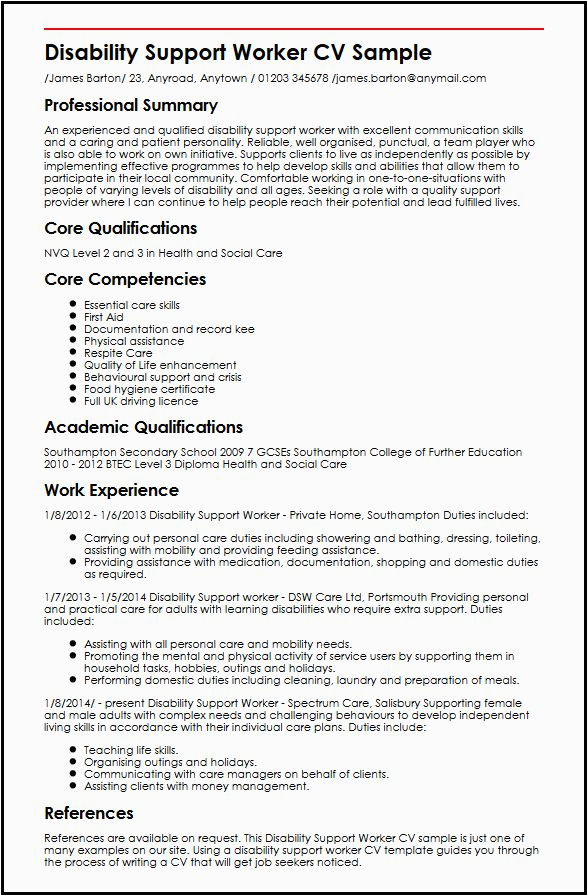 disability support worker cv sample