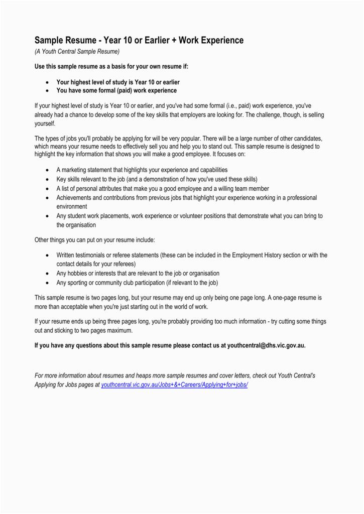 sample resume year 10 or earlier work