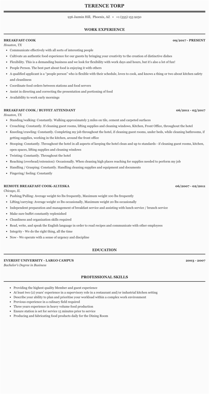 sample resume for chef cook