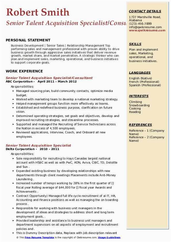 senior talent acquisition specialist