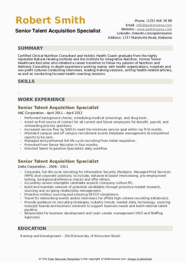 Senior Talent Acquisition Specialist Resume Sample Senior Talent Acquisition Specialist Resume Samples