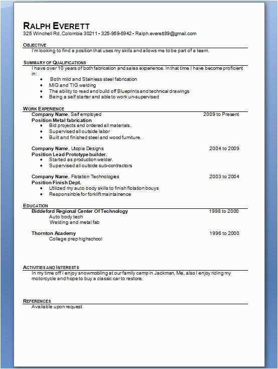 metal fabrication sample resume format