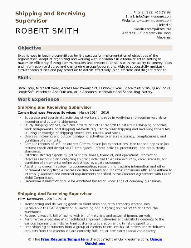 Shipping and Receiving Supervisor Resume Sample Shipping and Receiving Supervisor Resume Samples