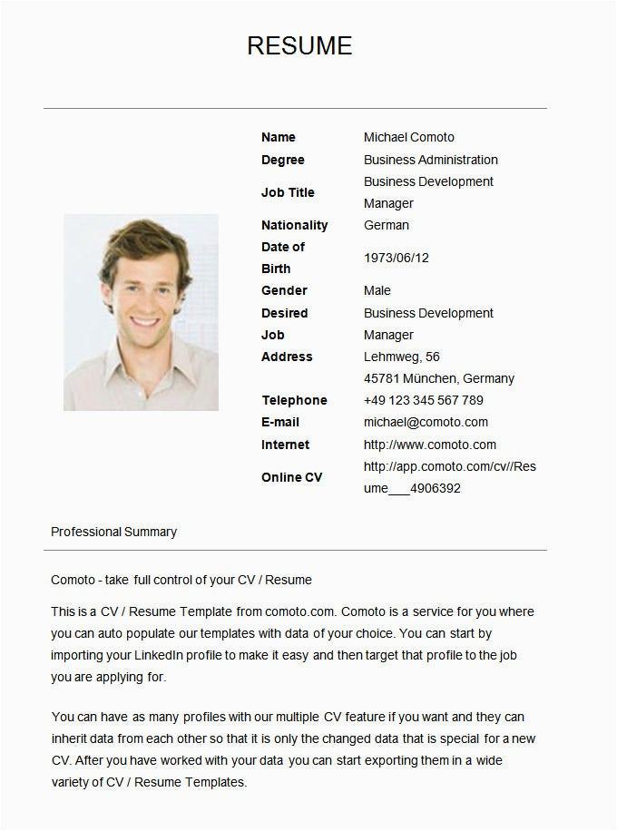 resume sample for job application