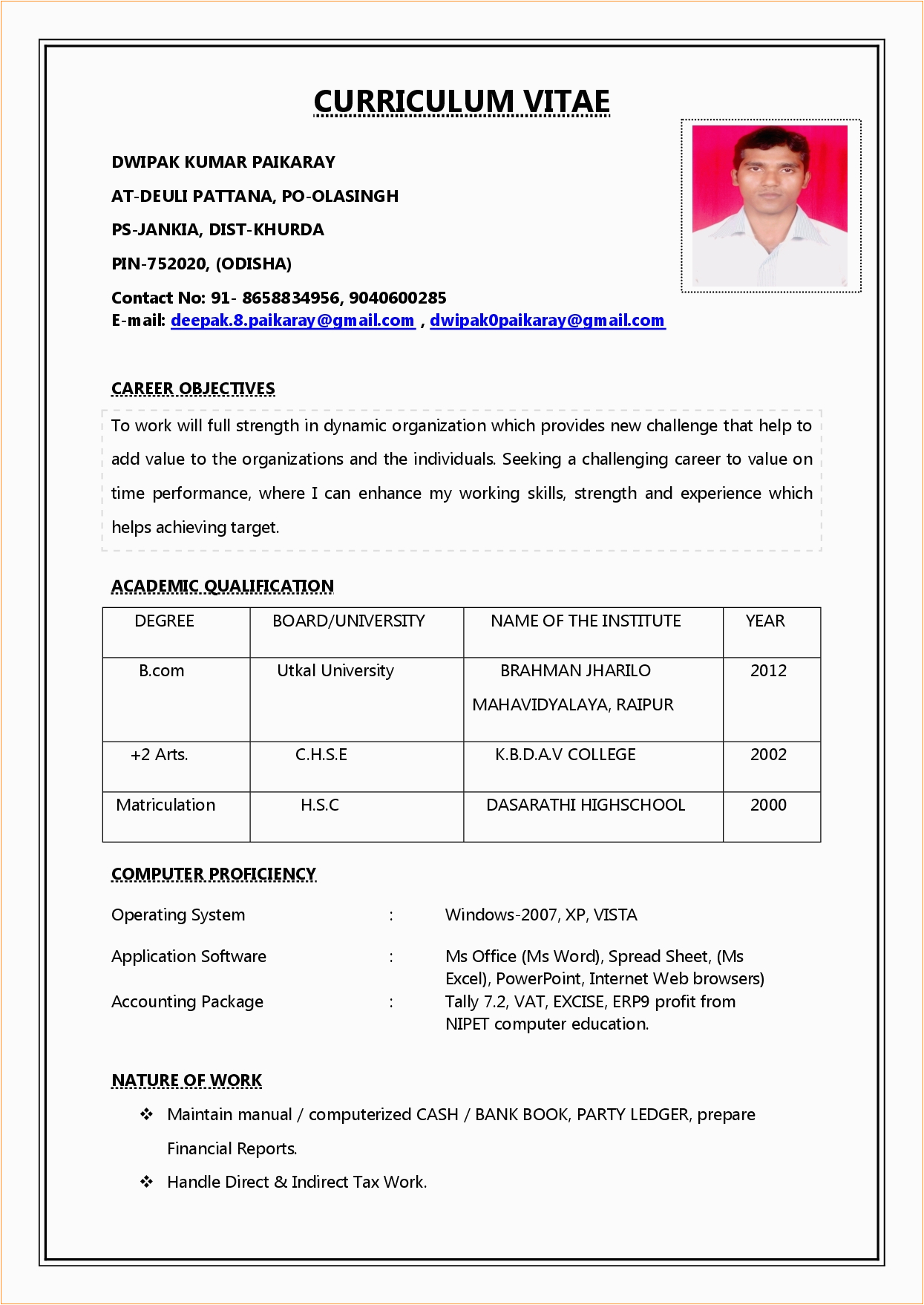 simple resume format for freshers pdf
