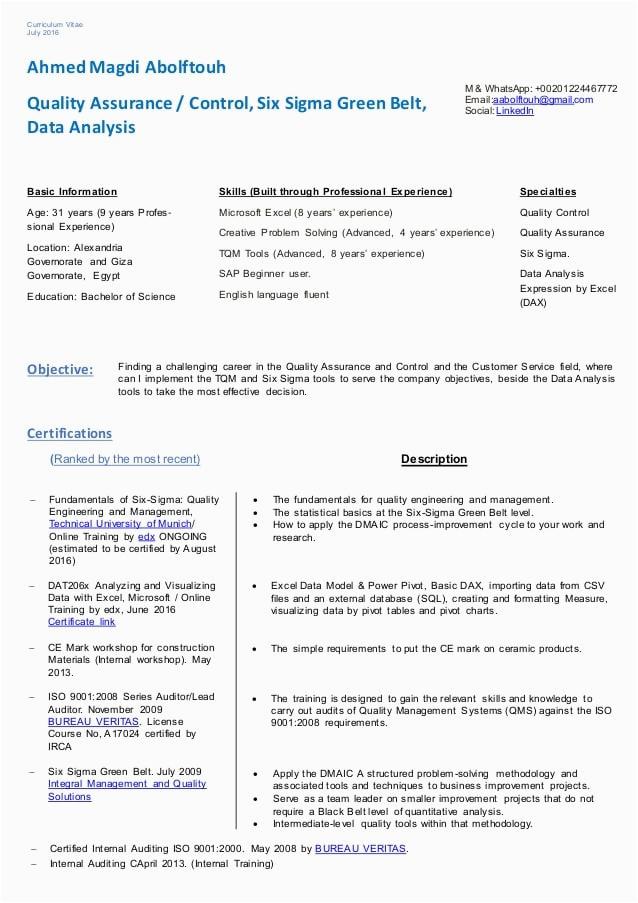 ahmed magdi resume qaqc ssgb data analysis