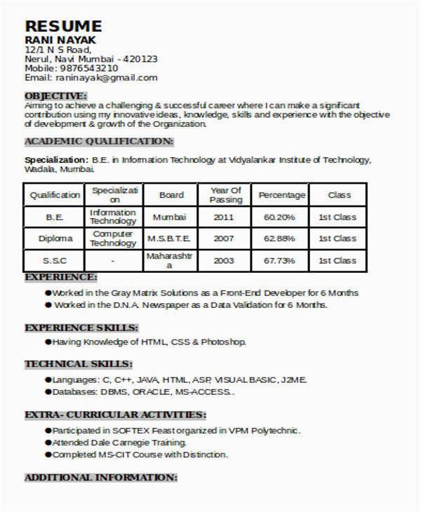 1 Year Experience Resume Sample Pdf 70 Resume formats Pdf Doc