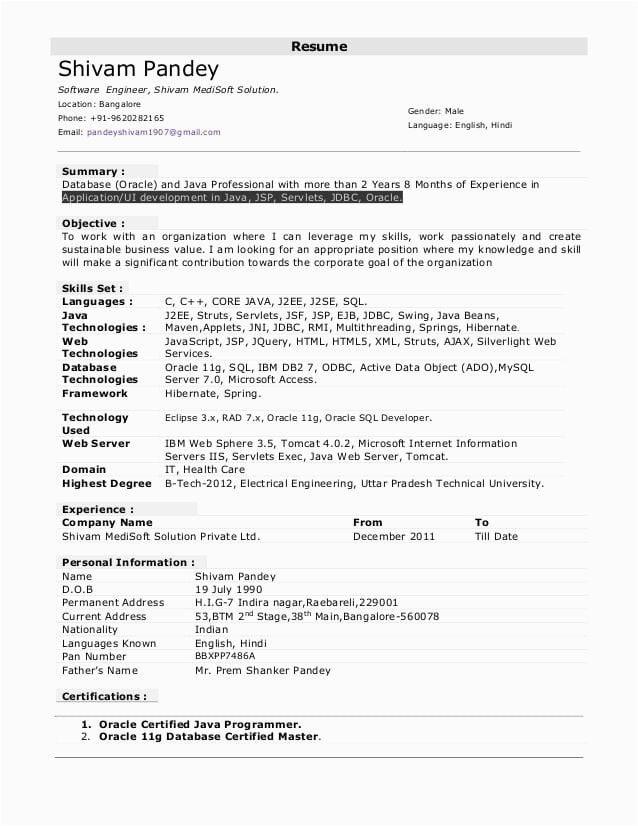 resume format for one year experience