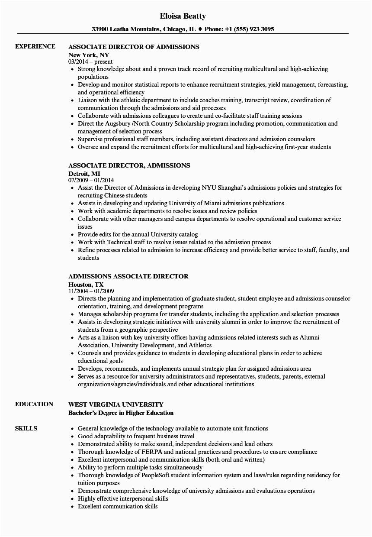 associate director admissions resume sample