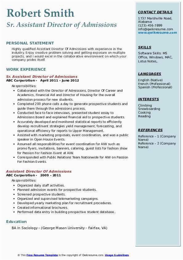 director of undergraduate admissions resume