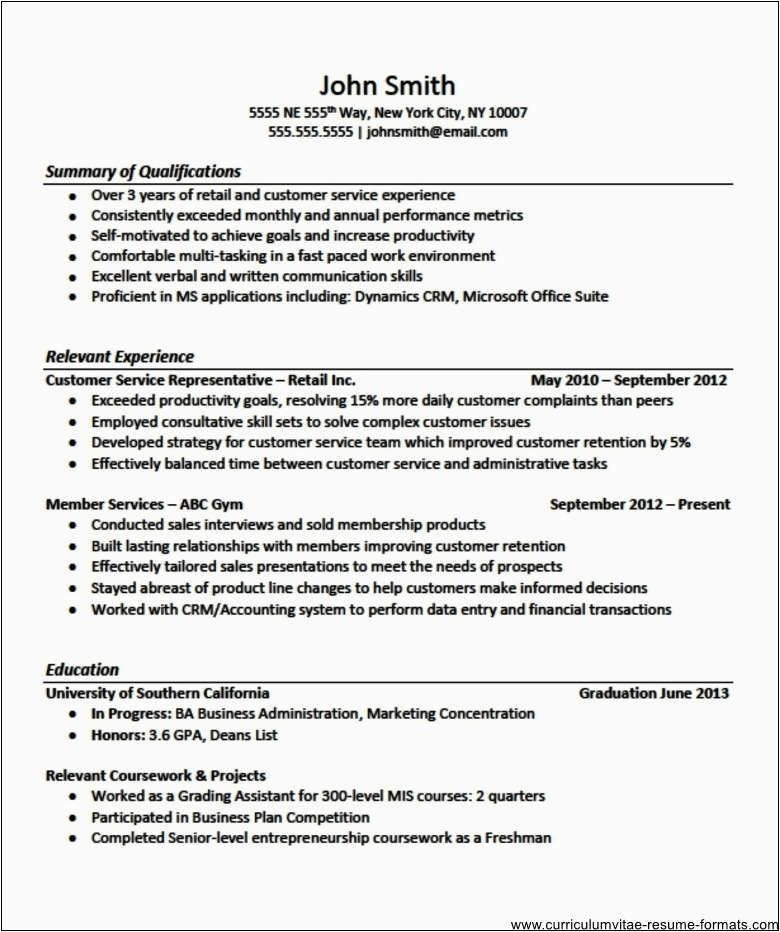 sample resume format for experienced it professionals