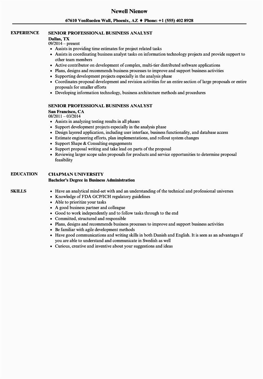 senior business analyst resume examples