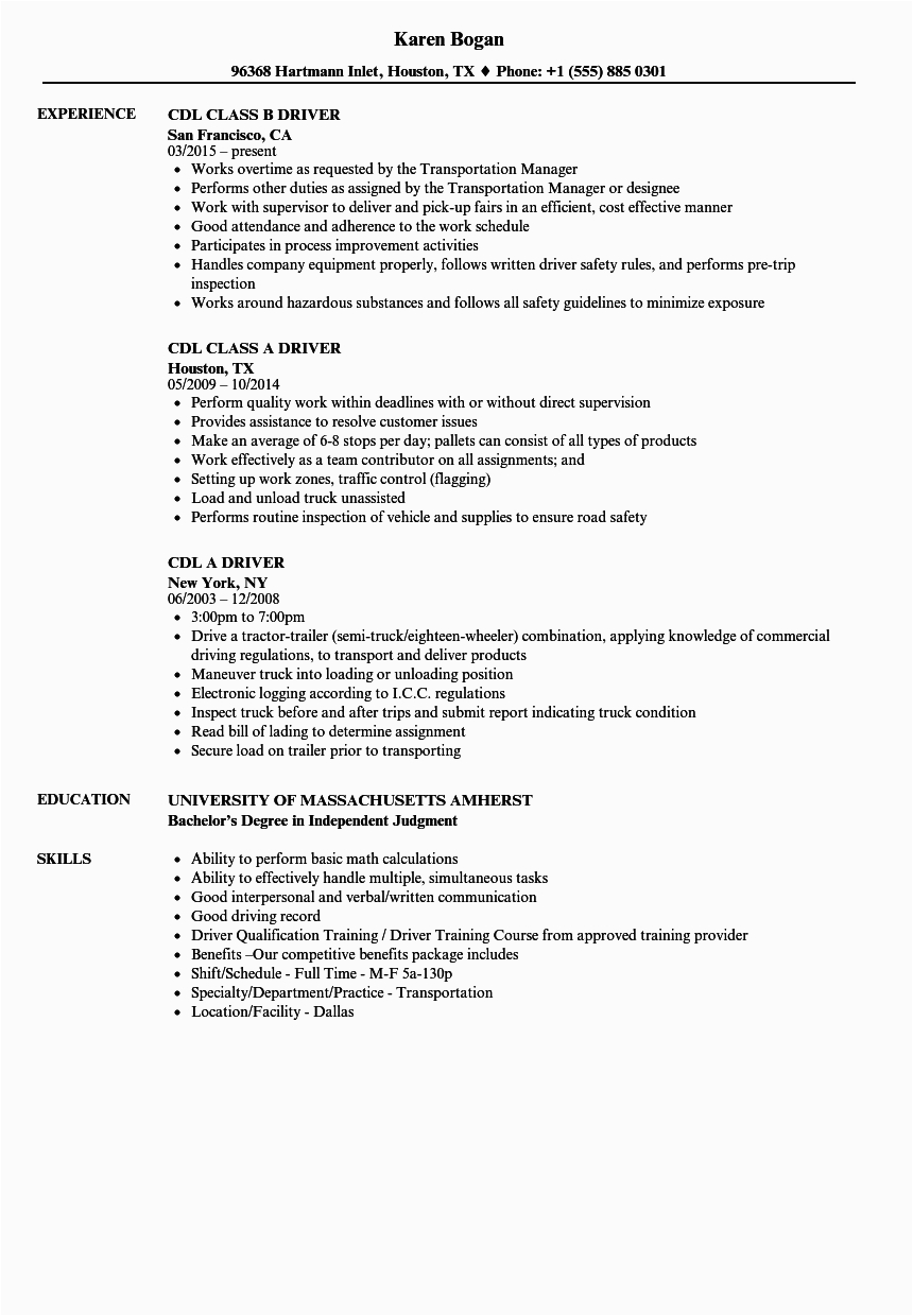 12 13 sample resume for cdl truck drivers