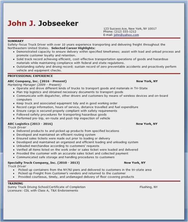 cdl driver resume