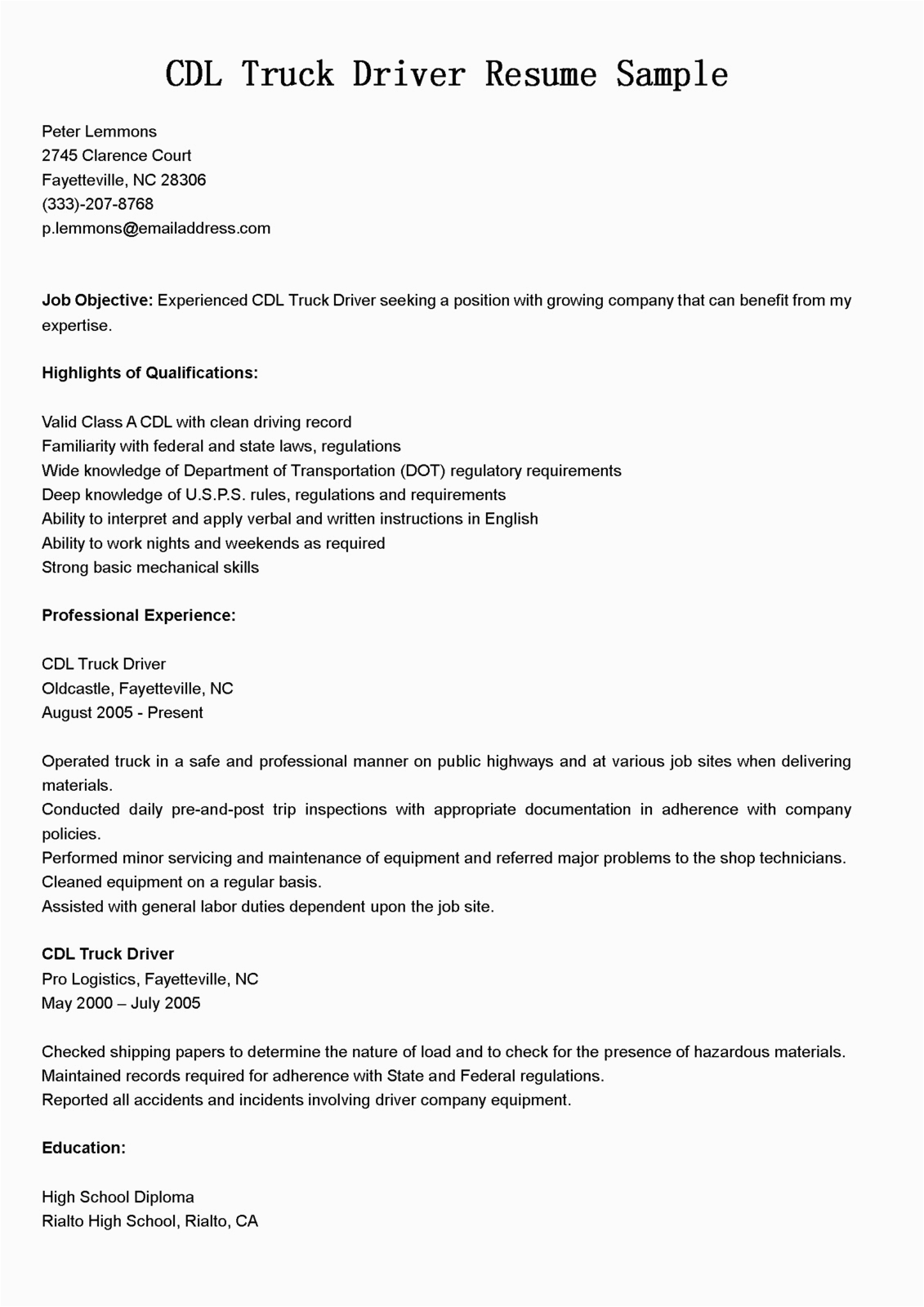 cdl truck driver resume sample