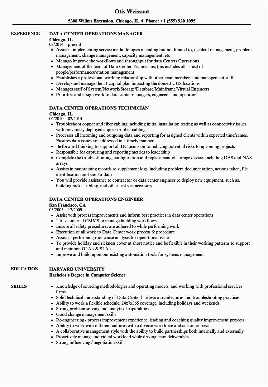 Data Center Operations Engineer Sample Resume Data Center Operations Resume Samples