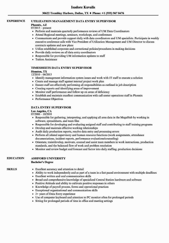 data entry supervisor resume sample