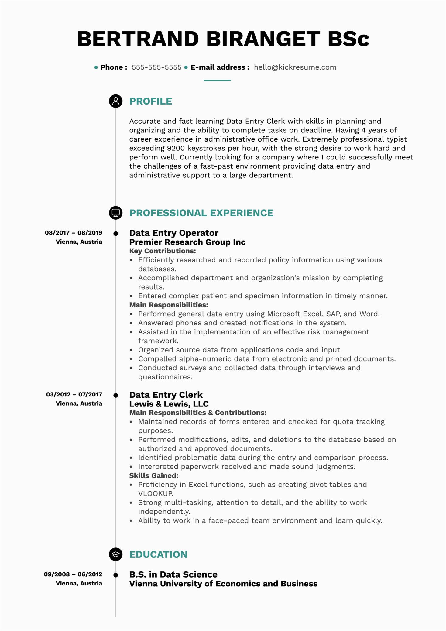 data entry operator resume sample