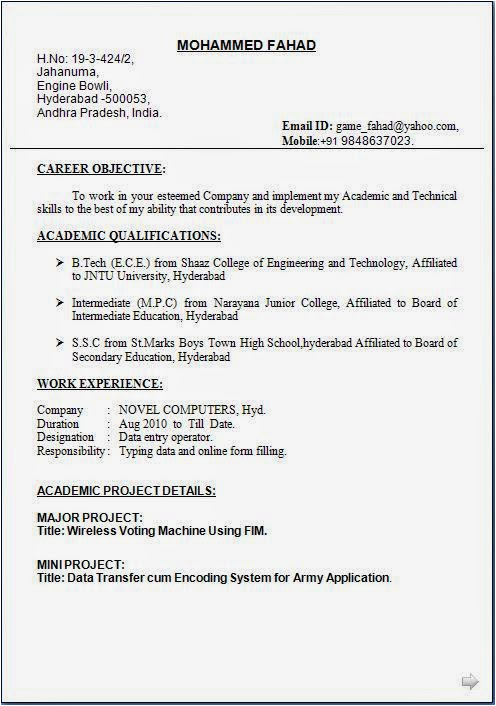 Data Entry Operator Resume Sample India Data Entry Operator Resume format Free Download