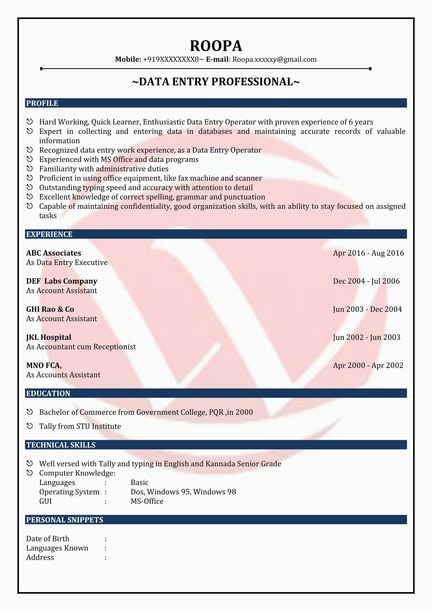 data entry resume sample format