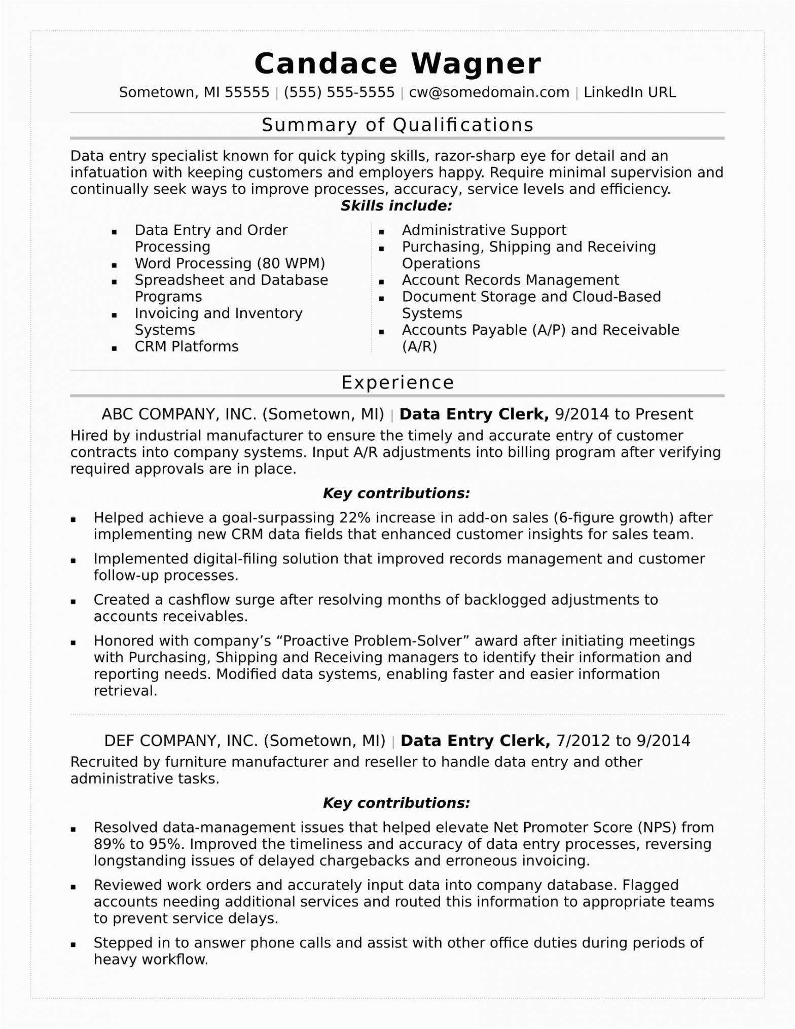 Data Entry Resume Sample with Experience Data Entry Resume Sample