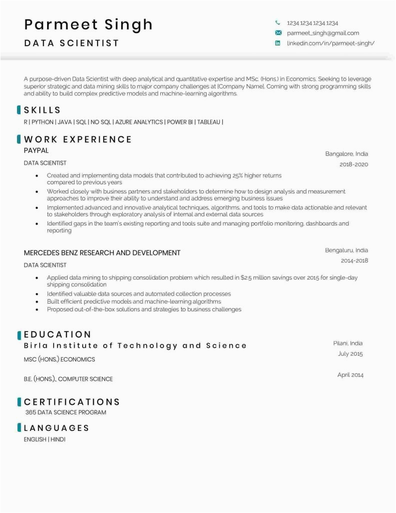 data scientist resume sample