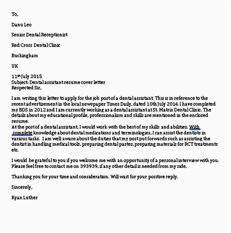 9 sample dental assistant cover letter