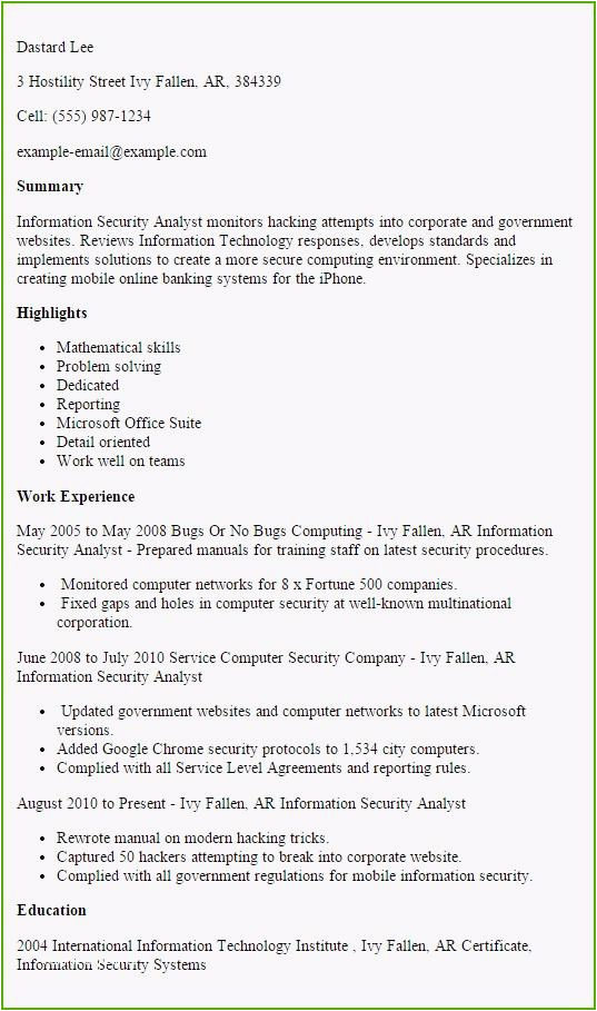 Entry Level Cyber Security Resume Sample Cyber Security Resume Example Free Resume Templates