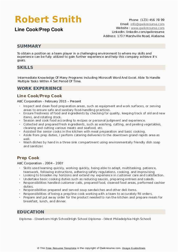 Entry Level Prep Cook Resume Sample Prep Cook Resume Samples
