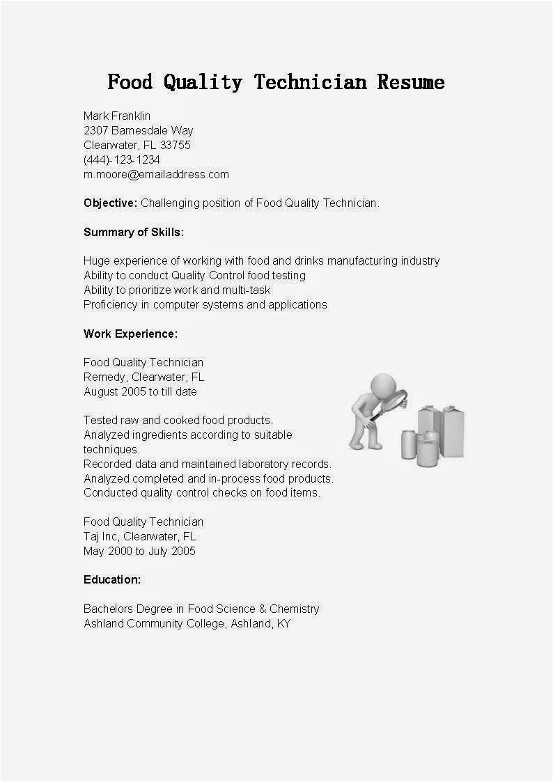 food quality technician resume sample