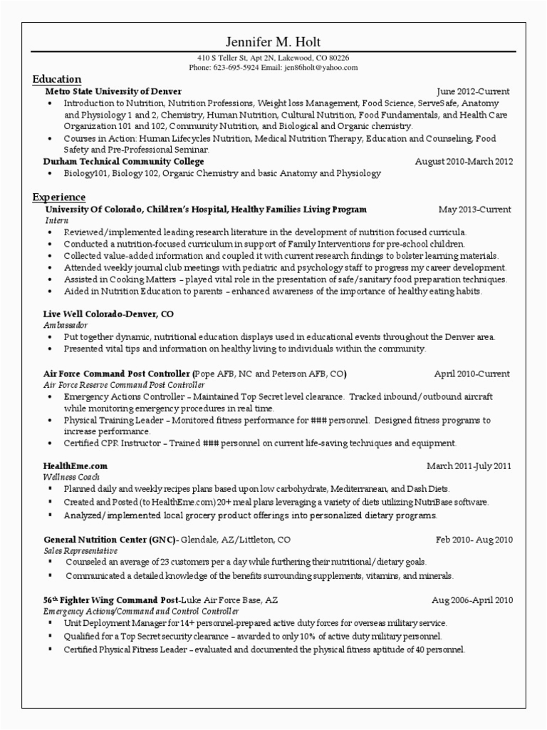 nutrition assistant resume
