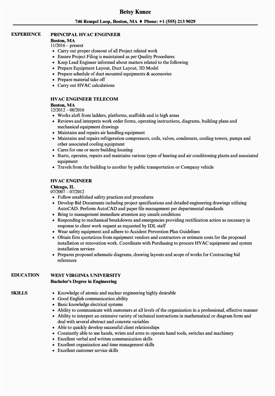 Hvac Design Engineer Resume Samples Pdf Hvac Design Engineer Resume Samples Pdf