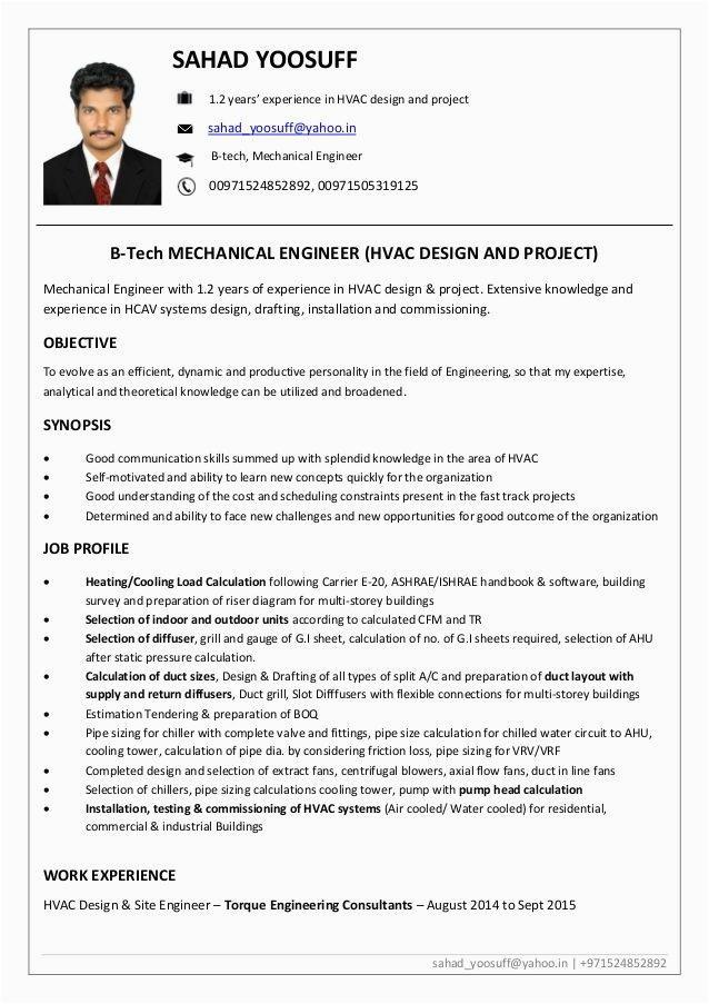 hvac site engineer resume pdf