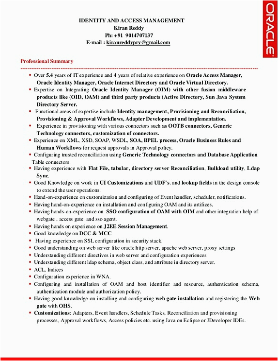 Identity and Access Management Sample Resume Identity and Access Management Resume