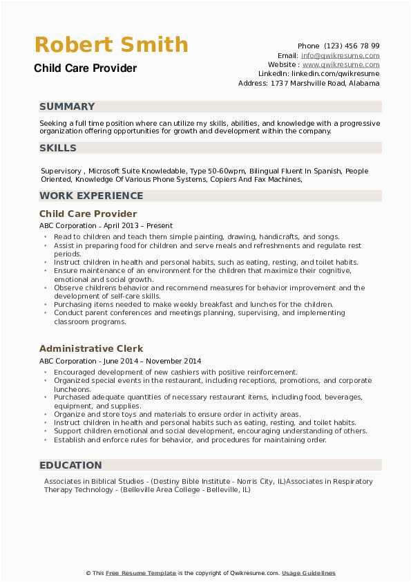 In Home Child Care Provider Resume Sample Child Care Provider Resume Samples