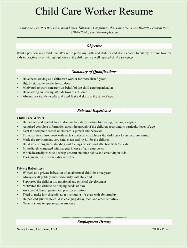 resume sample for child care provider