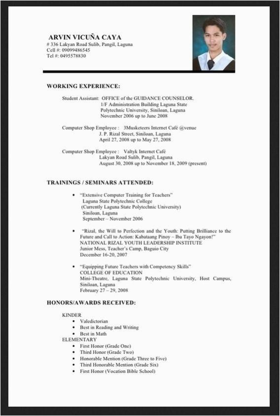 resume sample for fresh graduate information technology