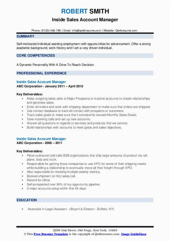 inside sales account manager