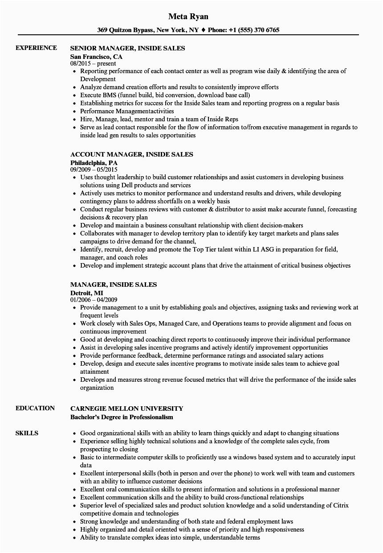 manager inside sales resume sample