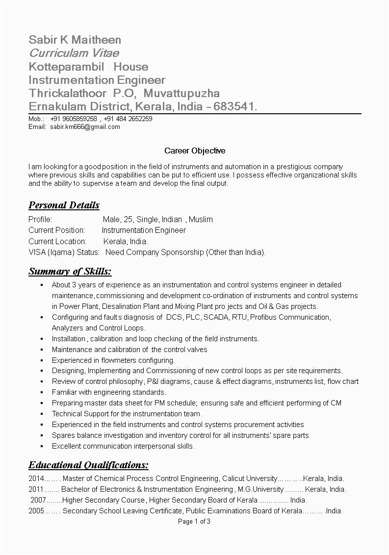 instrumentation engineer resume