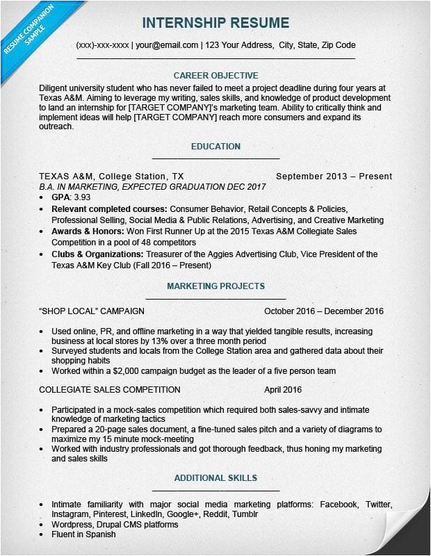 Internship Resume Sample for College Students Pdf College Student Resume Sample & Writing Tips